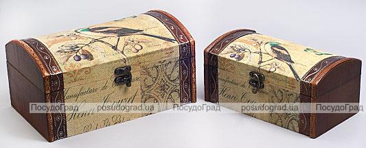 """Набор из двух деревянных шкатулок """"Дуардин Птица на Ветке"""", 26x16x13см и 22x12x10см"""