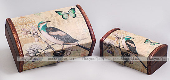 """Набор из двух деревянных шкатулок """"Дуардин Птица на Ветке"""", 18x11x7см и 14x7x5см"""