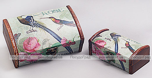 """Набор из двух деревянных шкатулок """"Дуардин Райская Птица и Розы"""", 18x11x7см и 14x7x7см"""