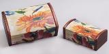 """Набор из двух деревянных шкатулок """"Дуардин Оранжевая Гербера"""", 18x11x7см и 14x7x9см"""