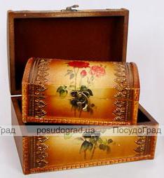 """Набор из двух деревянных шкатулок """"Сундучок Роза"""", 22x15x11см и 18x11x8см"""