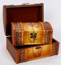 """Набор из двух деревянных шкатулок """"Сундучок Ирис"""", 22x15x11см и 18x11x8см"""