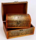 """Набір з двох дерев'яних шкатулок """"Скринька Золота Шкіра"""", 22x15x11см і 18x11x8см"""