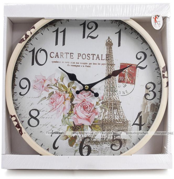"""Годинник настінний ретро """"Carte Postale"""" Ø30см"""