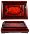 Набор деревянных подносов Сomfortable Red 3 подноса