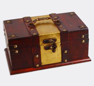 """Набор из двух деревянных шкатулок """"Сундучок Ковка Мини"""" с ручкой, 24x14,5x11,5см и 20x10,5x8см"""