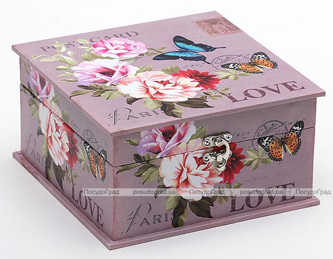 "Деревянная шкатулка ""Стефани Purple Postcard"", 20x20x10.5см"