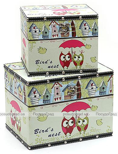 """Набор из двух деревянных шкатулок """"Стефани Owls"""", 32x24x24см и 24x20x20см"""
