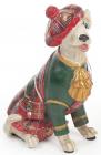 """Декоративна фігурка """"Собака шотландка в зеленому каптані"""" 15см"""