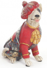 """Декоративна фігурка """"Собака шотландка в червоному каптані"""" 15см"""