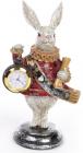 """Декоративная фигурка с часами """"Белый Кролик"""" 21см, красный кафтан"""