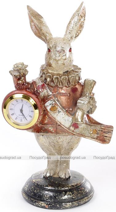 """Декоративная фигурка с часами """"Белый Кролик"""" 21см, медный кафтан"""
