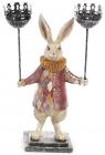 """Декоративна фігурка-підсвічник """"Білий Кролик"""" 37см, червоний каптан"""
