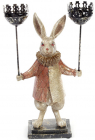"""Декоративная фигурка-подсвечник """"Белый Кролик"""" 37см, медный кафтан"""