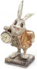 """Фігурка декоративна з годинником """"Білий Кролик в мідному жупані"""" 26см"""