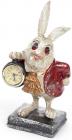 """Фигурка декоративная с часами """"Белый Кролик в красном кафтане"""" 26см"""