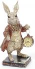 """Фігурка декоративна з годинником """"Білий Кролик в мідному жупані"""" 30см"""