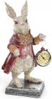 """Фигурка декоративная с часами """"Белый Кролик в красном кафтане"""" 30см"""