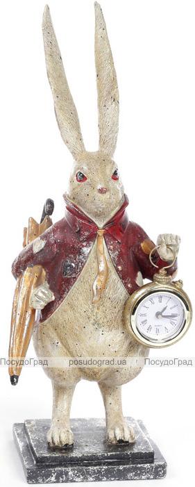 """Фигурка декоративная с часами """"Белый Кролик в красном кафтане"""" 39см"""
