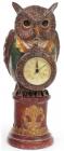 """Декоративна фігурка з годинником """"Мудра Сова в зеленому каптані"""" 32см"""