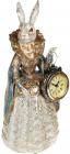 """Статуетка з годинником """"Дама-кролиця"""" 10.5х10х24.5см, у синій накидці"""
