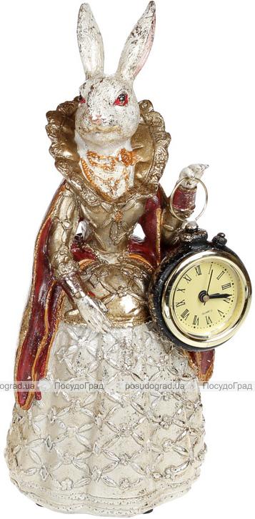 """Статуетка з годинником """"Дама-кролиця"""" 10.5х10х24.5см, у червоній накидці"""
