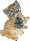 """Декоративна статуетка """"Кішечка на маскараді"""" 13х10.5х16см, у синій масці"""