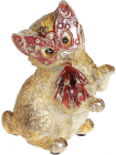 "Декоративная статуэтка ""Кошечка на маскараде"" 13х10.5х16см, в красной маске"