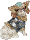 """Декоративна статуетка """"Собачка на маскараді"""" 14.5х12х17.5см, в синьому костюмі"""