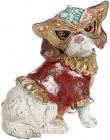 """Декоративна статуетка """"Собачка на маскараді"""" 14.5х12х17.5см, в червоному костюмі"""