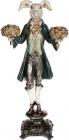 """Статуетка-свічник """"Кролик з букетами"""" 20.5х13х40.5см, зелене пальто"""