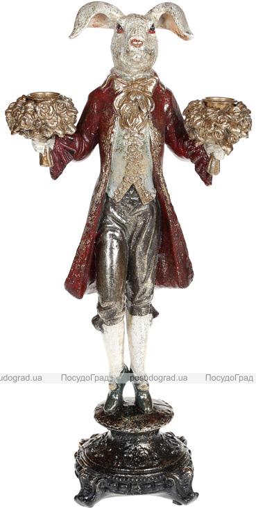 """Статуетка-свічник """"Кролик з букетами"""" 20.5х13х40.5см, червоне пальто"""