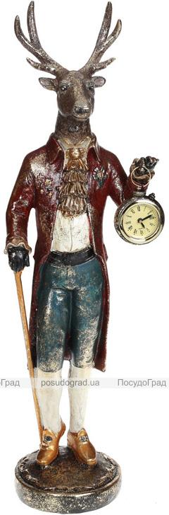 """Декоративна фігура з годинником """"Олень з тростиною"""" 12.5х10.5х83см"""