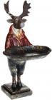 """Декоративна статуетка """"Лось з підносом"""" 19х18х36см, в червоному"""
