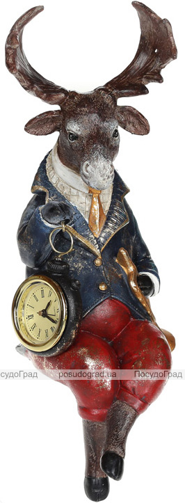"""Декоративна статуетка з годинником """"Сидячий Лось"""" 15.5х12.5х31.5см"""