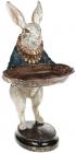 """Декоративна статуетка """"Кролик з підносом"""" 13х14х27см, в синьому"""