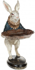 """Декоративна статуетка """"Кролик з підносом"""" 11х10.5х54см, в синьому"""