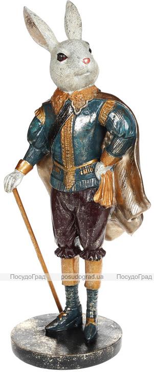 """Декоративная статуэтка """"Кролик с тростью"""" 19.5х16х44см, в синем"""
