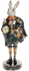 """Статуэтка с часами """"Кролик в изумрудном костюме"""" 19.5х16х44см"""