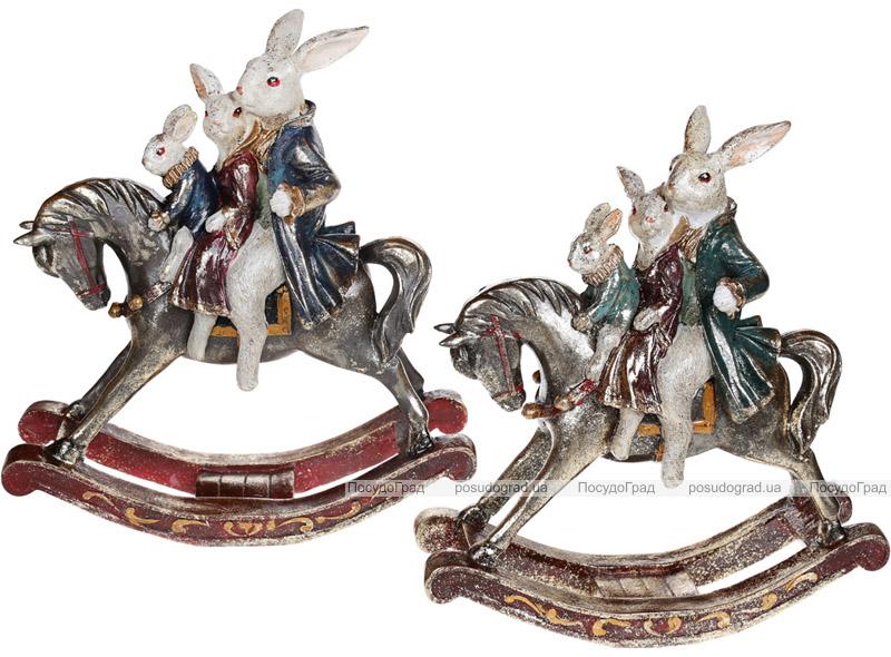 """Статуетка-качалка """"Сім'я кроликів на конячці"""" 28х11х30см"""