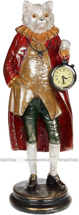 """Статуэтка с часами """"Кот в красном пальто"""" 14.5х14.5х41.5см"""