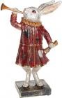 """Декоративна статуетка """"Кролик з дудкою"""" 18х9.5х28см, в червоному"""