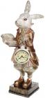 "Статуетка з годинником ""Кролик з книгою"" 14.5х14х32см, в золотому"