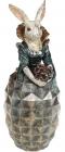 """Декоративная статуэтка """"Дама-крольчиха в изумрудном платье"""" 11х10.5х28.5см"""