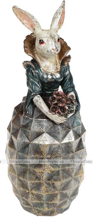 """Декоративна статуетка """"Дама-кролиця в смарагдовому платті"""" 11х10.5х28.5см"""