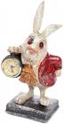 """Фигурка декоративная с часами """"Белый Кролик в красном кафтане"""", высота 26см"""