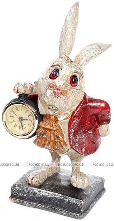 """Фігурка декоративна з годинником """"Білий Кролик в червоному жупані"""", высота 26см"""