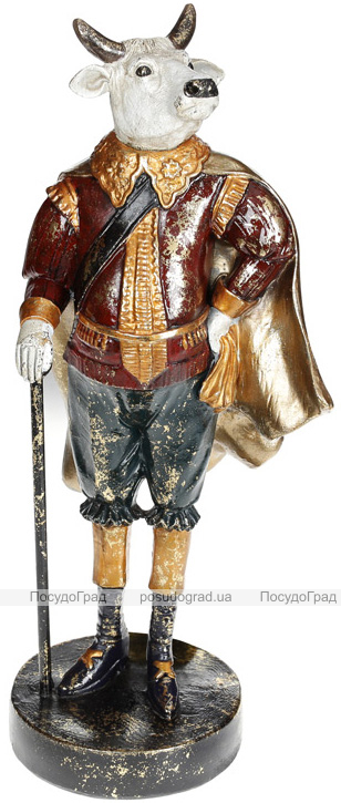 Фігурка декоративна «Бик з тростиною» в червоному 16х12.5х38см, полістоун