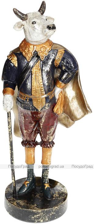 Фігурка декоративна «Бик з тростиною» в синьому 16х12.5х38см, полістоун
