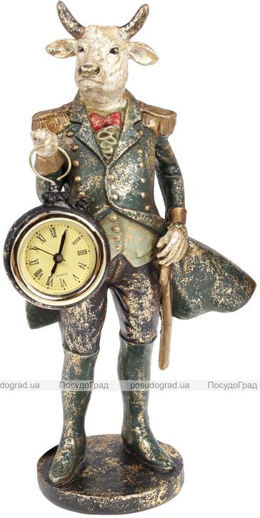 Статуэтка декоративная с часами «Бык в зеленом кафтане» 12х11х27см